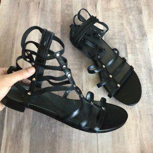Stuart Weitzman Leather Ankle Gladiator Sandals